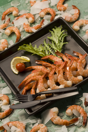 Cooked prawns on tray