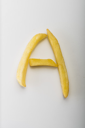 Alphabet A formed by french fries