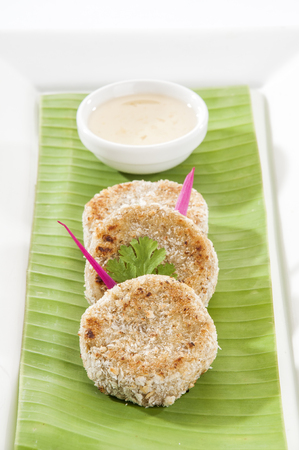 dipping: Tasty croquette with dipping sauce Stock Photo
