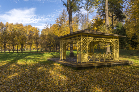 Wooden Gazebo in the autumn Park. Gorky Leninskie, Lenin hills, Russia, the last location of Vladimir Lenin.