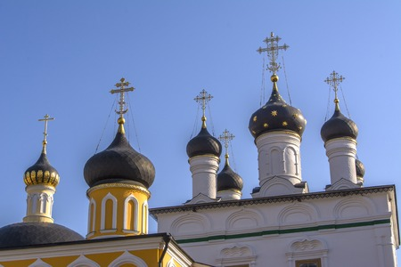 Several domes with crosses. Orthodox monastery of the ascension of David deserts. Banco de Imagens