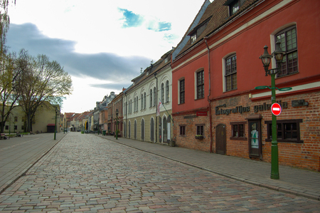 Kaunas Lithuania, 01 may 2017. Kaunas old town. Old street in spring time in morning Redakční
