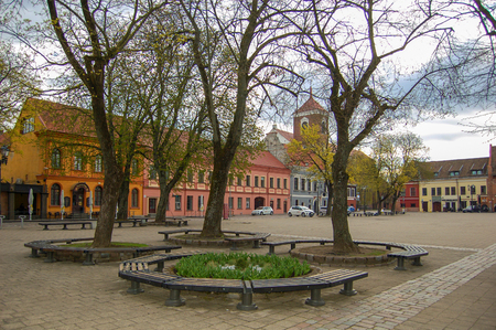 Kaunas Lithuania, 01 may 2017. Kaunas old town. Town square in spring time Reklamní fotografie - 124583807