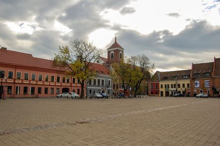 Kaunas Lithuania, 01 may 2017. Kaunas old town. Town square in spring time in morning Reklamní fotografie - 124583808