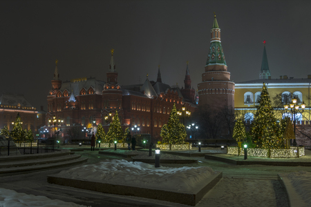 Night view of the Moscow Kremlin and Christmas trees in bright lights