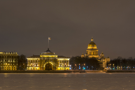 View from the Neva river on St. Isaacs Cathedral and the main headquarters of the Russian Navy