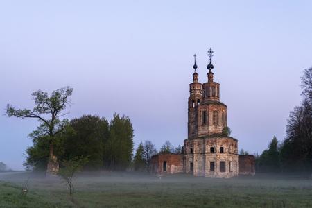 Abandoned ruined Church in Russia. Kolentsy Village, Ryazan. Early morning