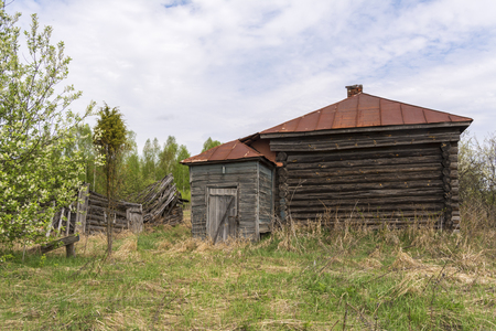 An abandoned village in Russia. Destroyed house