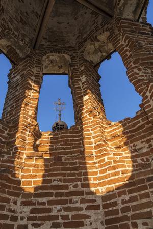 Bell tower inside the ruined Church in Russia. Kolentsy, Ryazan