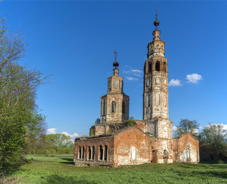 Abandoned ruined Church in Russia. Kolentsy Village, Ryazan Imagens