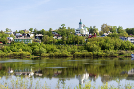 The ancient Russian town of Kasimov. View from the Oka river. 免版税图像