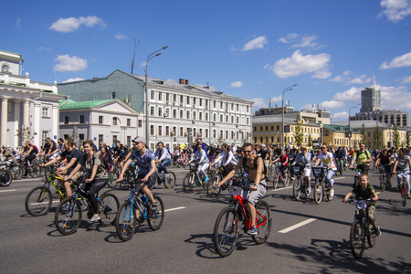 Moscow. Russia. 19 may 2019. Moscow Cycling festival 2019. Funny bike lovers go on a wide street.
