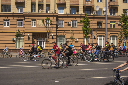 Moscow. Russia. 19 may 2019. Moscow Cycling festival 2019. Numerous Cyclists on the streets