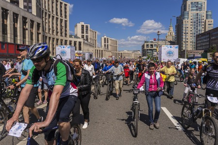 Moscow. Russia. 19 may 2019. Moscow Cycling festival 2019. Start of the bike race on the city street.