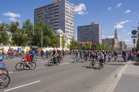 Moscow. Russia. 19 may 2019. Moscow Cycling festival 2019. Many cyclists ride along the wide street