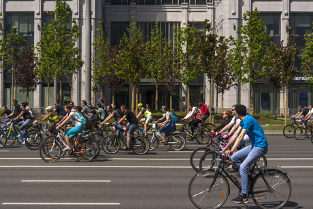 Moscow. Russia. 19 may 2019. Moscow Cycling festival 2019. Funny bike lovers go on a wide street