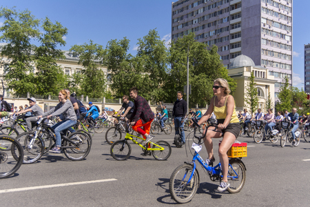 Moscow. Russia. 19 may 2019. Moscow Cycling festival 2019 Cyclists on the streets
