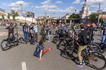 Moscow. Russia. 19 may 2019. Moscow Cycling festival Velofest 2019. Funny Cyclists relax after arrival