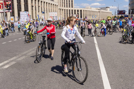 Moscow. Russia. 19 may 2019. Moscow Cycling festival Velofest 2019. Numerous cyclists ride along a wide street Editorial