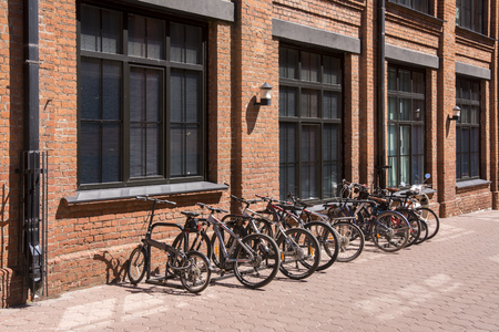 Moscow. Russia. 05 june 2019. Bicycles in the Parking lot in the loft quarter.