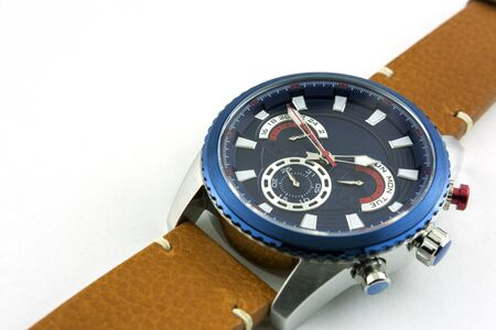 Stylish mens steel watch on genuine leather strap on white background