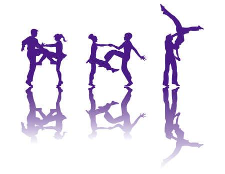 the silhouette of dancers Vettoriali