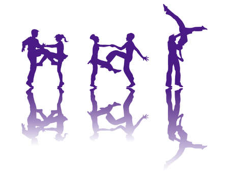 the silhouette of dancers Vector