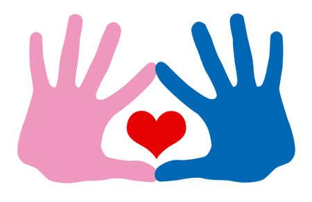 La mano in mano e il cuore Archivio Fotografico - 3297708