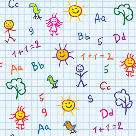 school vector seamless with abc drawing boy and girl trees and sun