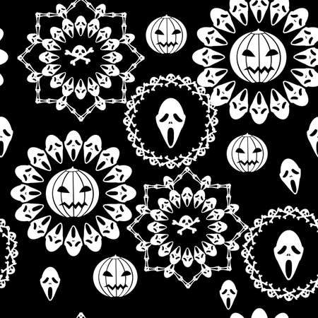 the halloween skul and ghost seamless Vector