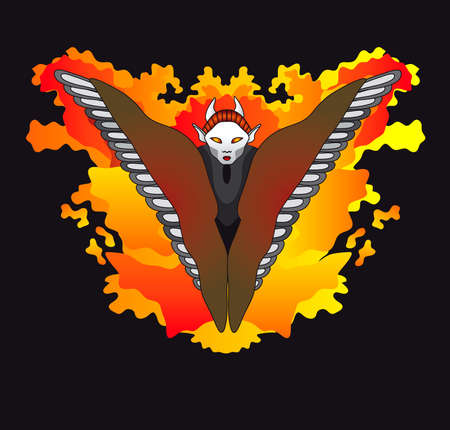 the halloween hell devil on the fire Vector