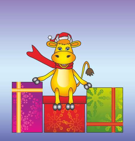the cartoon bull on the box present Vector