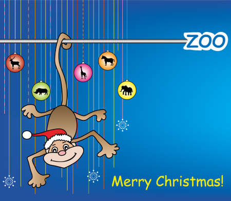 merry christmas in the zoo Vector