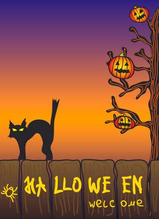 halloween scene Stock Vector - 3698074