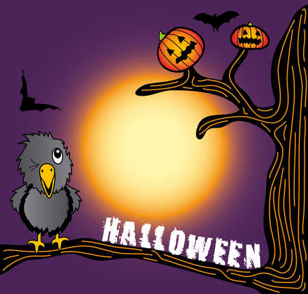the halloween crow looking at pumpkin on the tree Vector