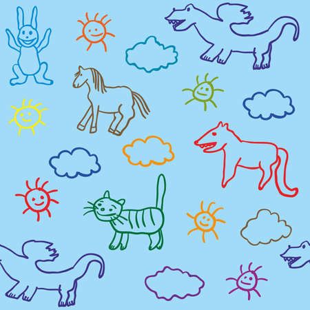 blue little boy sketch seamless with dragon horse cat fox and hare