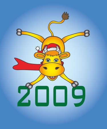 merrily: cartoon bull new year symbol