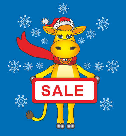 the cartoon bull santa for sale Vector