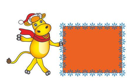 the cartoon santa bull with snowflakes frame