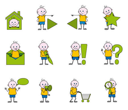 the children icons Stock Vector - 3806458