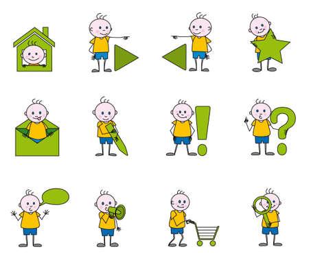 linked hands: the children icons Illustration