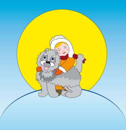 little boy and puppy - winter postcard Vector