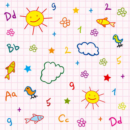 girl school seamless with abc drawing sun fish flower and cloud photo