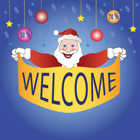 cartoon santa is holding in hands  banner fore sale with star balls and sale