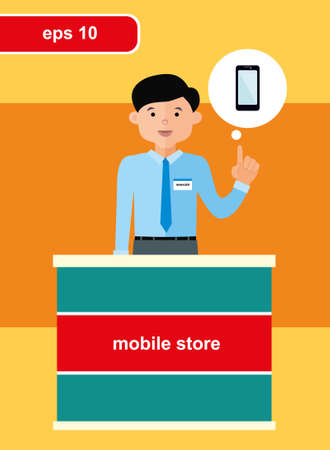 telephone salesman: Flat design concept of mobile store, sold at the reception