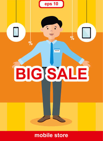 mobile phones: Flat design concept of mobile store, big sale of mobile phones and smartphones
