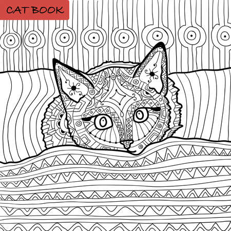 coloring book for adults - cat book, the kitten on the bed Векторная Иллюстрация