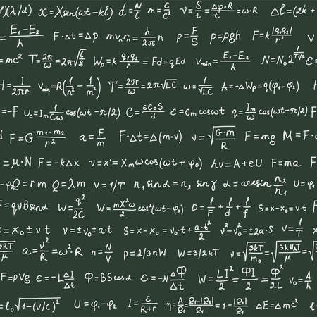 rapidity: Seamless pattern on the green blackboard with handwriting text and physics formulas, vector