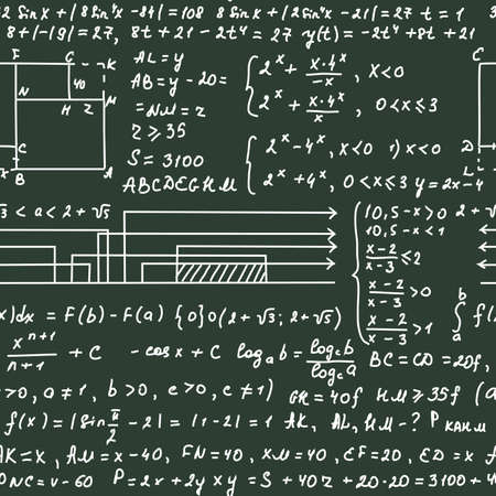 equalization: Seamless pattern on the green blackboard with handwriting text and mathematical formulas, vector