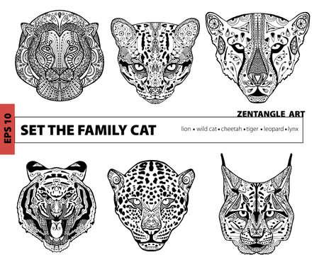 Antiestrés Adultos Colorear Illustration.The Gato Marcha. Pintada La ...